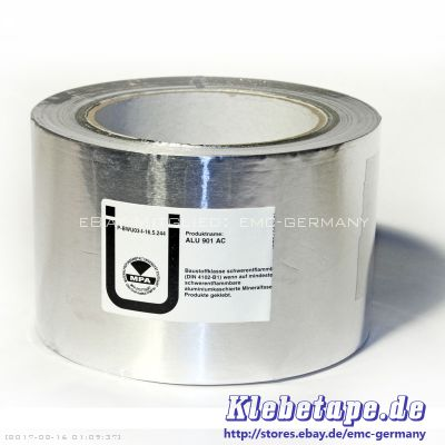 aluminium klebeband 50m x 50mm din 4102 b1 reines alu tape isolieren abdecken ebay. Black Bedroom Furniture Sets. Home Design Ideas