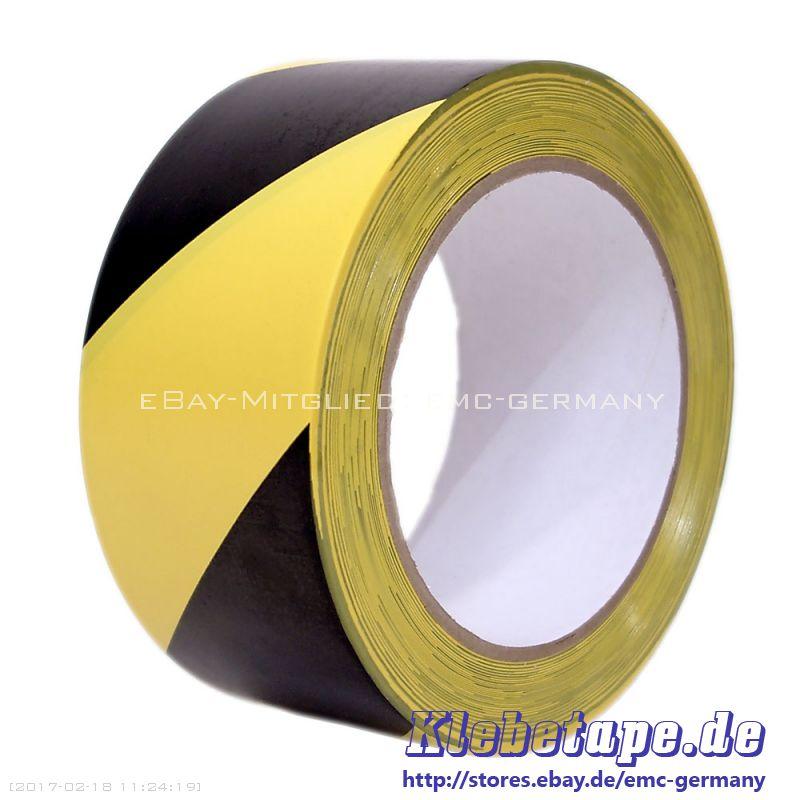 signalband warnband klebeband 33m gelb schwarz selbstklebend markierungsband ebay. Black Bedroom Furniture Sets. Home Design Ideas